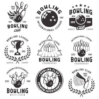 Ilustração de conjunto de emblemas de boliche