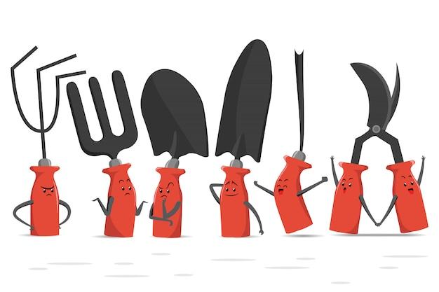 Ilustração de conjunto de ferramentas de jardinagem