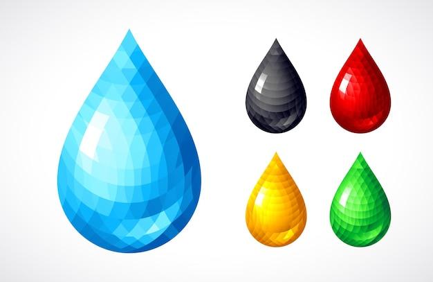 Ilustração de conjunto de gotas diferentes