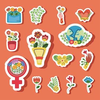 Ilustração de conjunto de ícones de pacote de dia da mulher