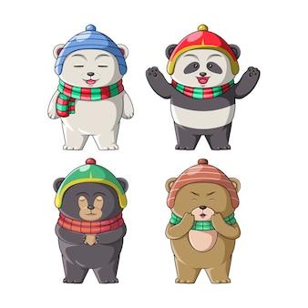 Ilustração de conjunto de ilustração de ursos e panda