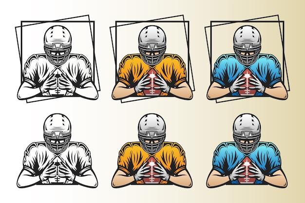 Ilustração de conjunto de jogador de futebol americano segurando bola com cor diferente