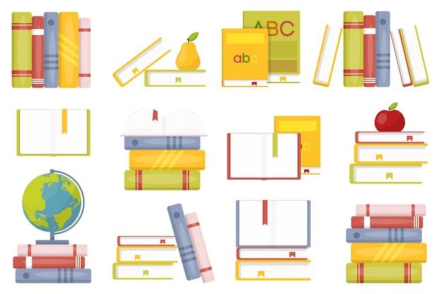 Ilustração de conjunto de livros escolares