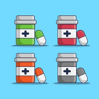 Ilustração de conjunto de medicamento de cápsula