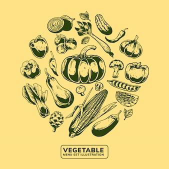 Ilustração de conjunto de menu de vegetais frescos