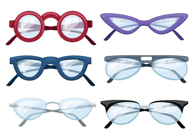 Ilustração de conjunto de óculos coloridos