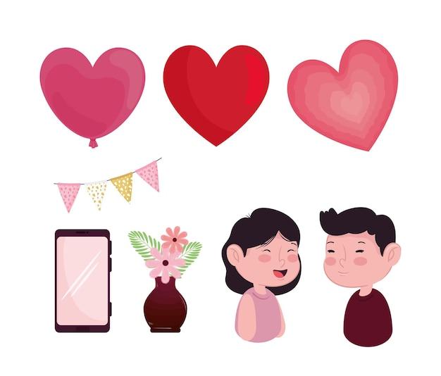 Ilustração de conjunto de oito ícones para o dia dos namorados