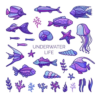 Ilustração de conjunto de peixes de desenho animado