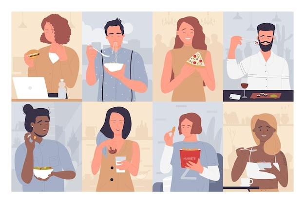 Ilustração de conjunto de pessoas comendo comida