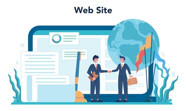 Ilustração de conjunto de plataforma ou serviço online para político
