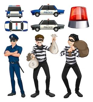 Ilustração de conjunto de polícias e assaltantes