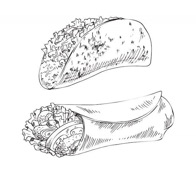 Ilustração de conjunto de prato tradicional mexicano
