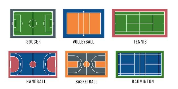 Ilustração de conjunto de quadra esportiva