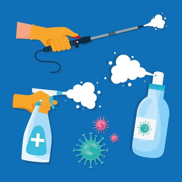 Ilustração de conjunto de quatro conjuntos de desinfecção
