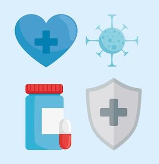 Ilustração de conjunto de quatro ícones de proteção contra vírus
