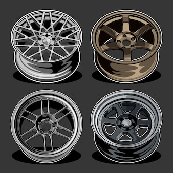 Ilustração de conjunto de rodas de carro