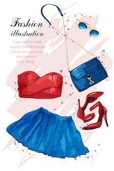 Ilustração de conjunto de roupas de menina moda verão