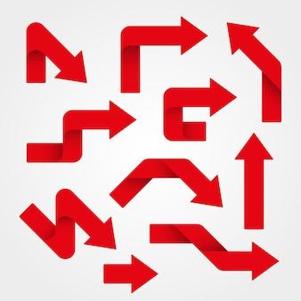 Ilustração de conjunto de setas vermelhas