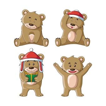 Ilustração de conjunto de urso fofo