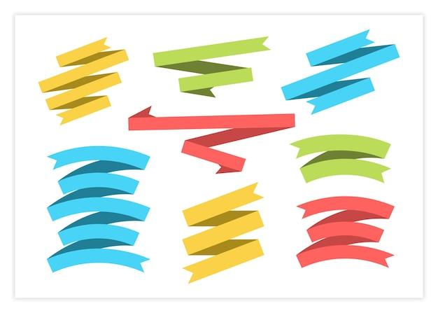 Ilustração de conjunto de vetores de faixa de fita plana colorida fitas de forma plana e curva, bandeiras ou rótulos de rolagem