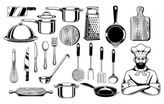 Ilustração de conjunto de vetores de material de cozinha