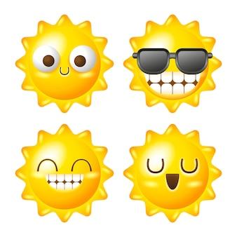 Ilustração de conjunto de vetores de sol fofo