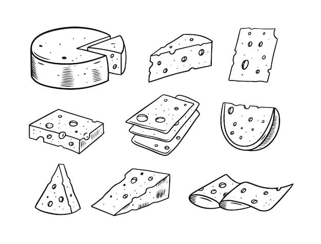Ilustração de conjunto desenhado à mão de doodle de queijo