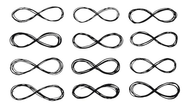 Ilustração de conjunto desenhado à mão infinito