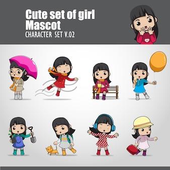 Ilustração de conjunto fofo de menina mascote