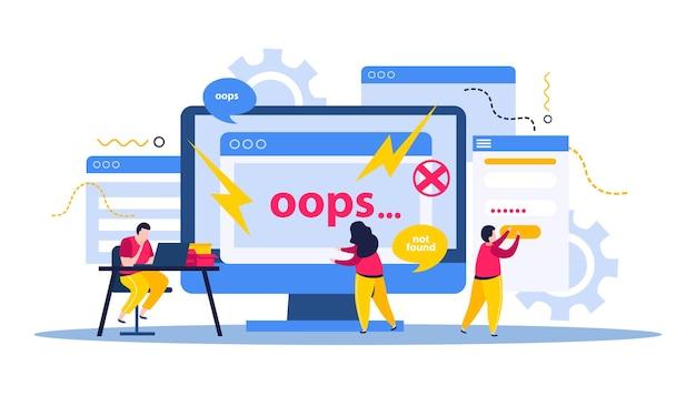 Ilustração de conserto de computador