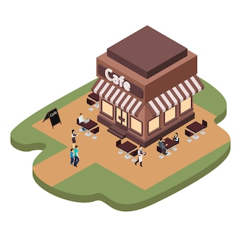 Ilustração de construção de café