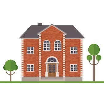 Ilustração de construção de casa de tijolo isolada no branco
