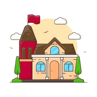 Ilustração de construção de casa escolar