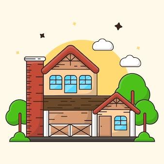 Ilustração de construção de casa moderna