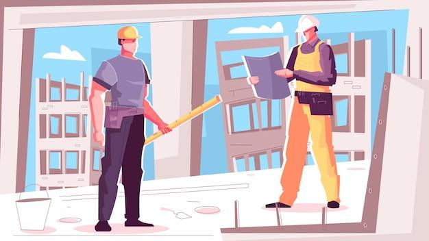 Ilustração de construção de edifício com dois operários lendo plantas