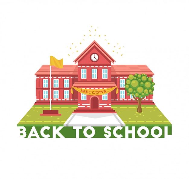 Ilustração de construção de escola