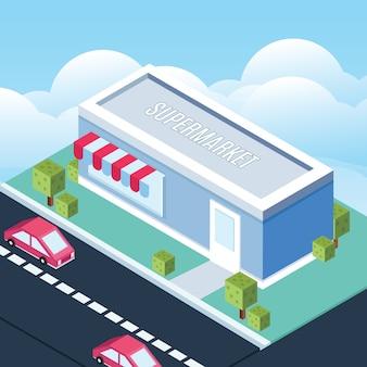 Ilustração de construção de loja isométrica
