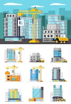 Ilustração de construção e conjunto de edifícios isolados