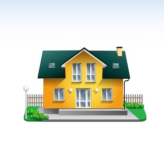 Ilustração de construção imobiliária da casa amarela. ícone de casa realista estilo simples com jardim