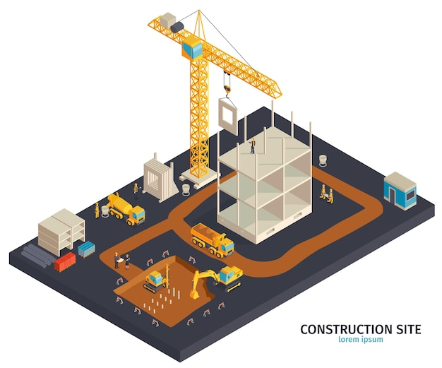 Ilustração de construção isométrica