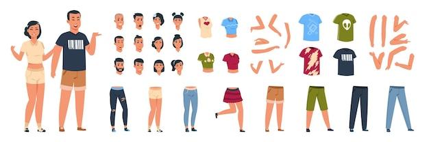 Ilustração de construtor feminino e masculino