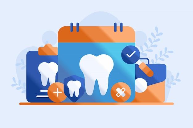Ilustração de consulta odontológica