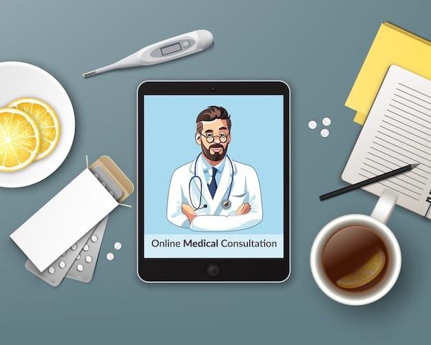 Ilustração de consulta on-line com o médico de casa usando tablet