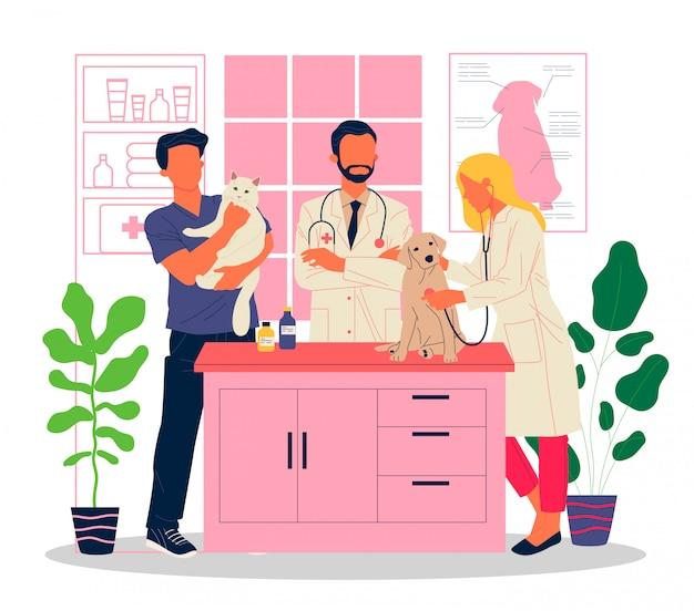 Ilustração de consultório veterinário