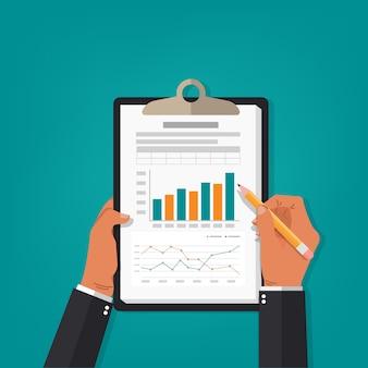Ilustração de contabilidade de relatório profissional.