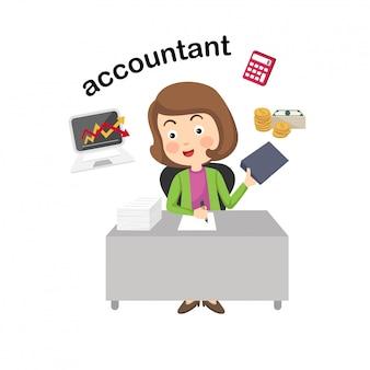 Ilustração de contabilista de profissão.