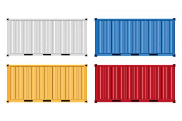 Ilustração de contêiner de carga isolada no branco.