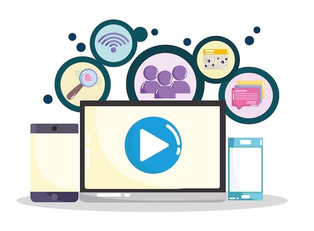 Ilustração de conteúdo viral de mídia social laptop smartphone celular wi-fi internet