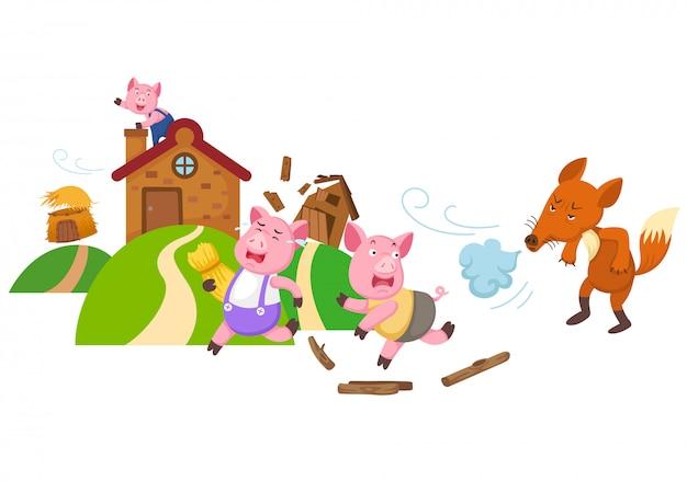 Ilustração de conto de fadas isolado três porquinhos