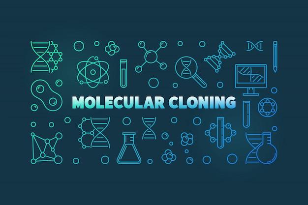 Ilustração de contorno colful de clonagem molecular